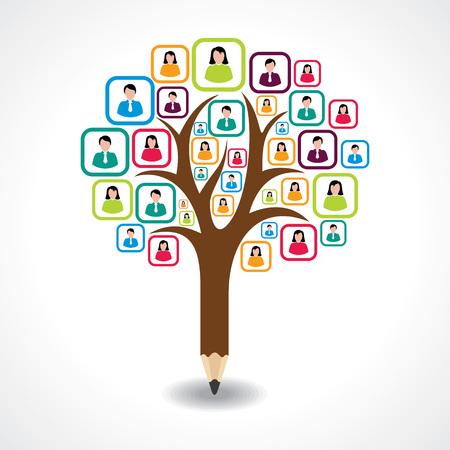 creative social people tree design concept vector Illustration