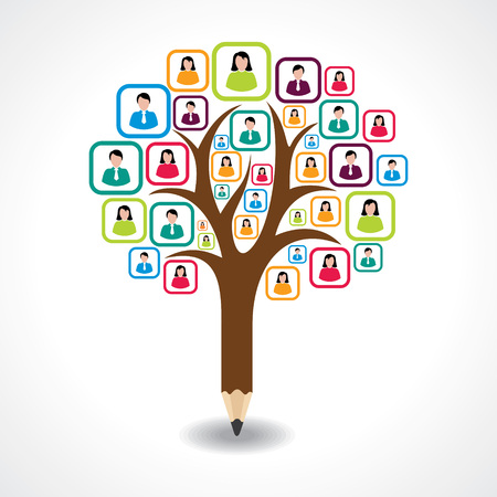 creative social people tree design concept vector Illustration