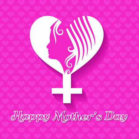 Women's health: Silhouette of a mothers day card with face , symbol with text