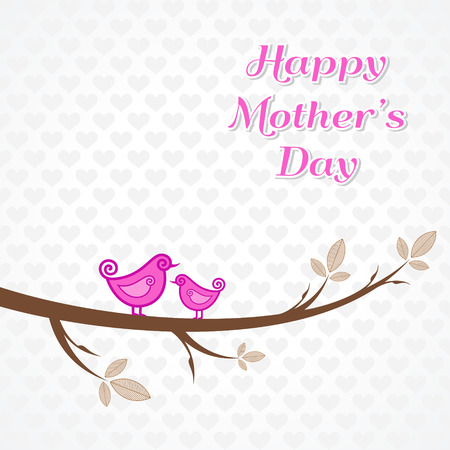 Women's health: Mothers day greeting with birds on branch stock vector Illustration