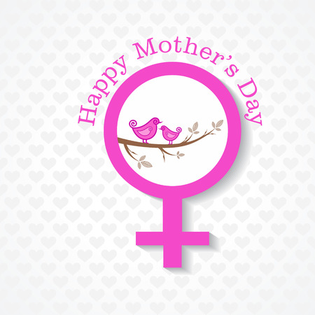 Women's health: Mothers day greeting with female face and symbol stock vector Illustration