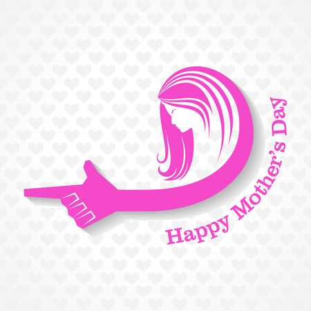 point i: Mothers day greeting with female face and hand stock vector Illustration