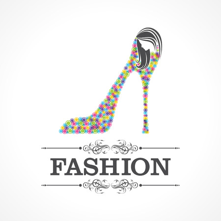 reconstructive: Beauty and fashion icon with shoe and face stock vector Illustration