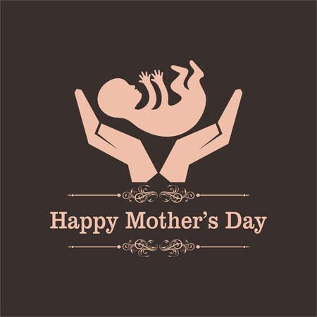 Happy mothers day greeting with caring concept stock vector Illustration