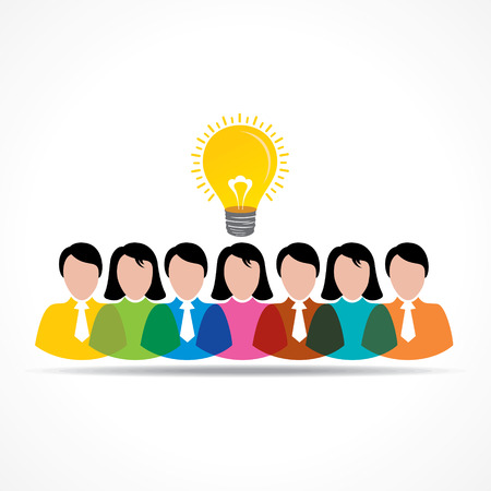 people team with idea bulb stock  vector Vector