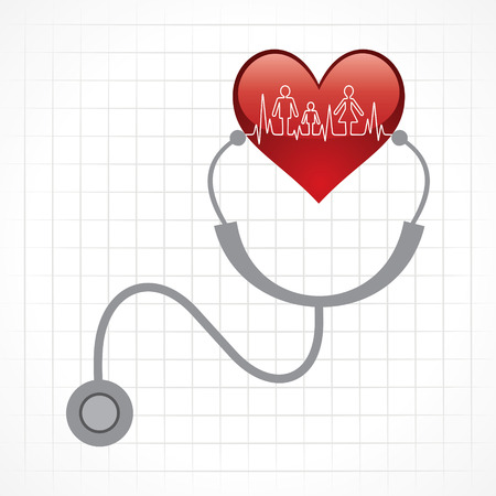 Stethoscope hold heart with heartbeat stock vector