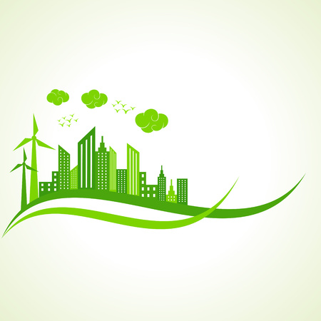 green buildings: Ecology concept with abstract design illustration
