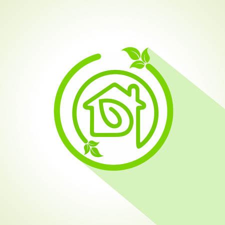 house energy: Eco home icon with leaf Illustration