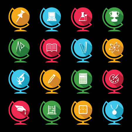 Set of educational icons on globe design Vector