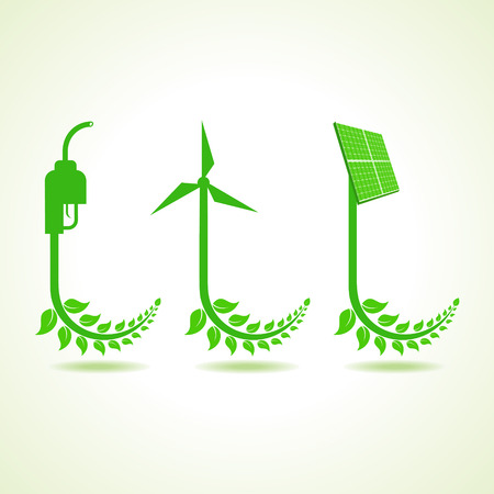 Eco icon with nozzle,wind-mill and solar panel Vector