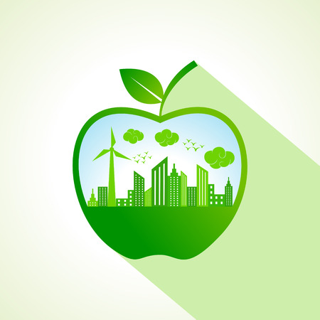 Ecology concept with apple stock vector  Vector