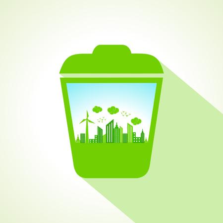 papelera de reciclaje: Concepto de la ecolog�a con la papelera de reciclaje stock vector Vectores