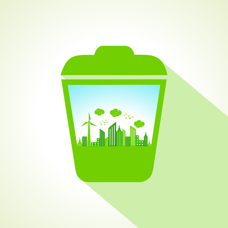 Ecology concept with recycle bin  stock vector  Vector