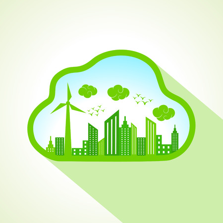 go green icons: Ecology concept with clouds-cape stock vector