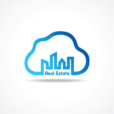 creative city building icon attach with cloud design concept vector Vector
