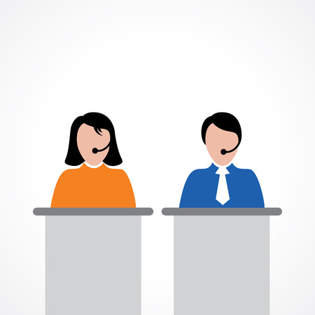 mobile operators: male or female call center worker concept vector