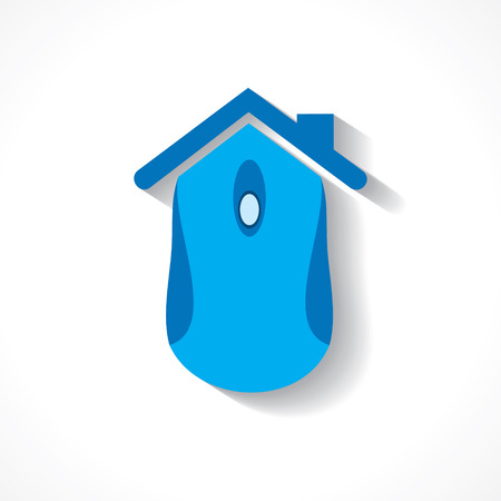 mouse: Computer mouse make a home icon stock vector