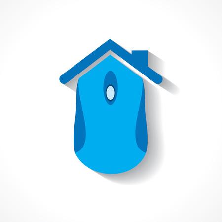 Computermuis maakt een home icoon stock vector