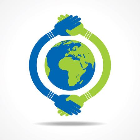trade union: Businessman handshake around an earth stock vector Illustration