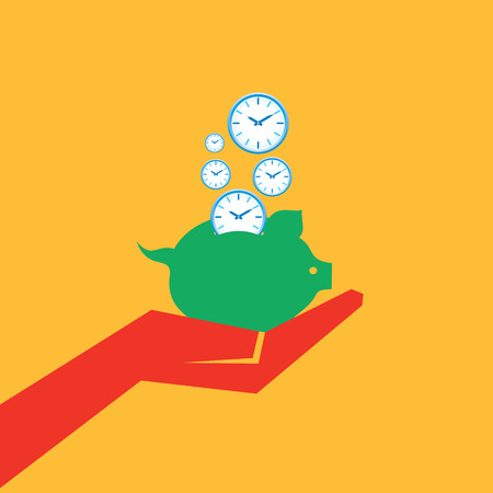 money time: Save time concept with piggy bank stock vector
