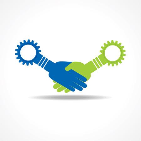 Businessman handshake with gear stock vector Vector