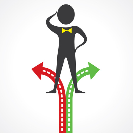 right choice: Confused man for right choice stock vector