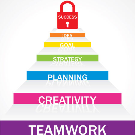 team working together: Different stairs required for success stock vector
