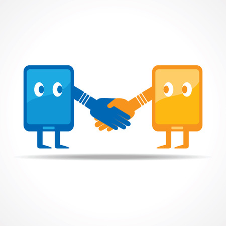Businessman handshake with tablet stock vector Vector