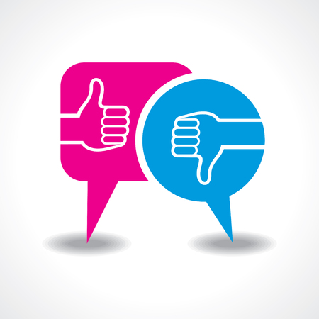unlike: illustration of like and unlike symbol with message bubble