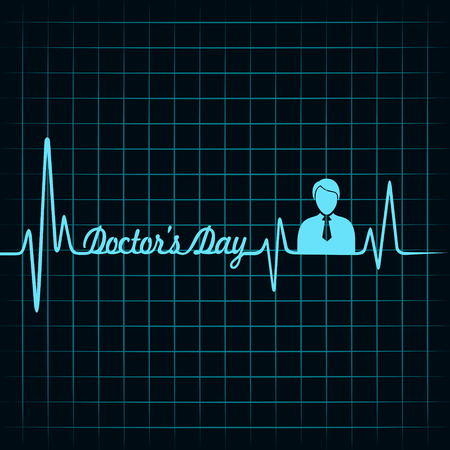Heartbeat make doctors day text and symbol stock vector Vector