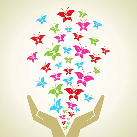 Hand emitted Colorful butterflies Vector