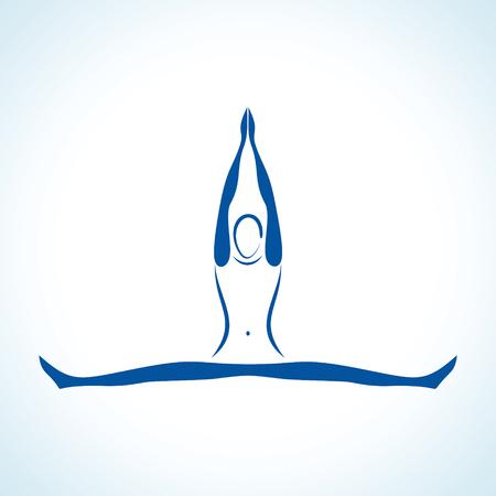 danza contemporanea: Ilustración de yoga estilizada plantean stock