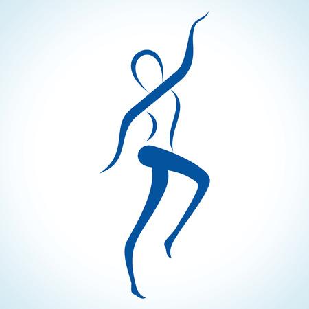 expresion corporal: Ilustración de yoga estilizada plantean stock vector Vectores