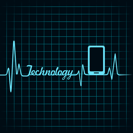 medical technology: Medical technology concept -heartbeat smartphone icon