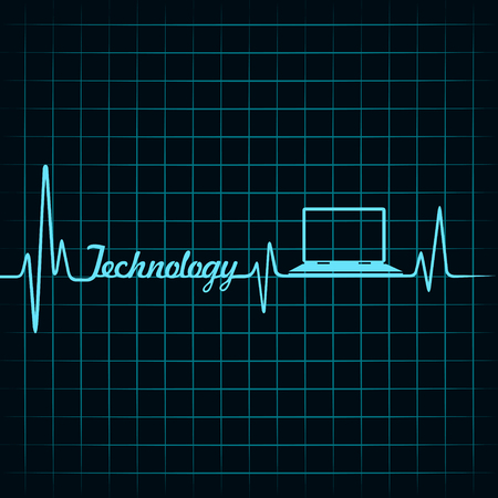 medical technology: Medical technology concept -heartbeat laptop icon