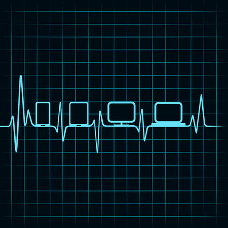 medical technology: Medical technology concept -heartbeat gadgets icon Illustration