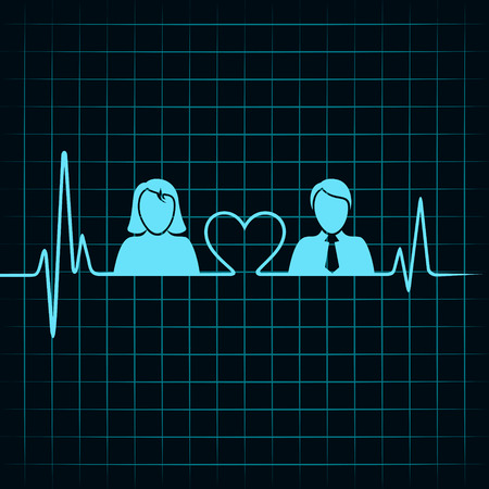 electrocardiograph: creative male female icon with electrocardiograph background  Illustration
