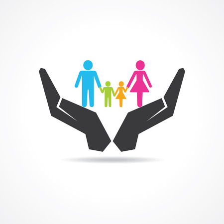linked: secure or save family under hand concept
