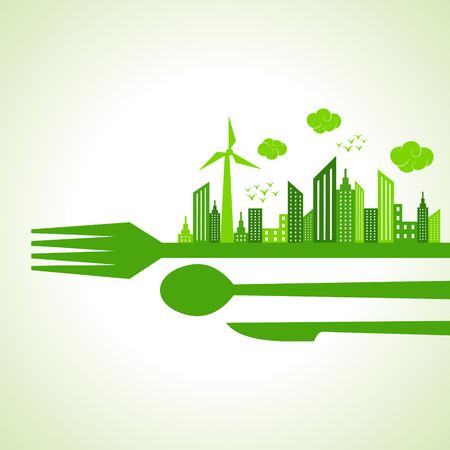 Eco city-escape on restaurant cutlaries stock  Vector