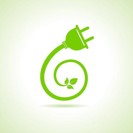 electric green: Eco electric plug icon stock