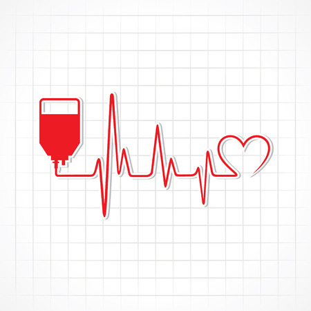 Blood donation concept with heartbeat