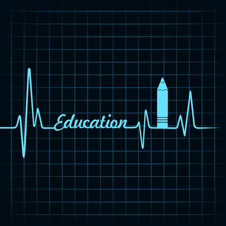 stethoscope heart: Heartbeat make a education symbol and text stock vecor