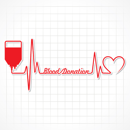 blood donation: Blood donation concept with heartbeat stock vecor