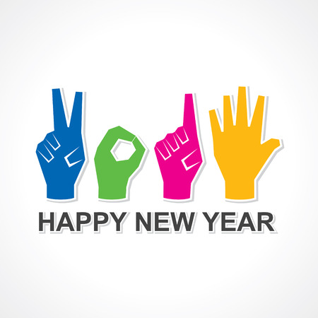 creative happy new year 2015 design with finger stock vector