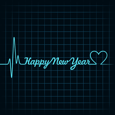 Illustration of heartbeat make happy new year text and heart symbol