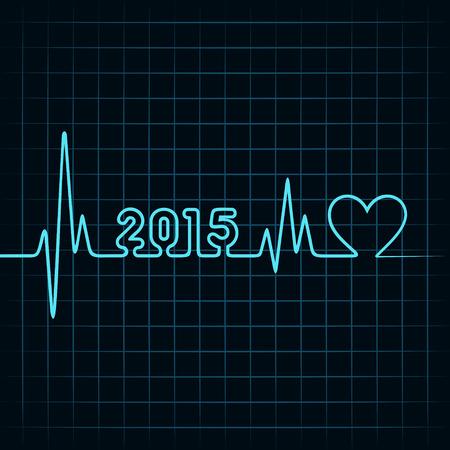 Illustration of heartbeat make 2015 and heart symbol Illustration