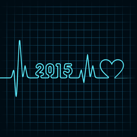 Illustration of heartbeat make 2015 and heart symbol Illustration