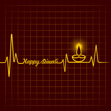 swastik: Illustration of diwali greeting background with heartbeat