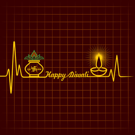 Illustration of diwali greeting background with heartbeat Vector
