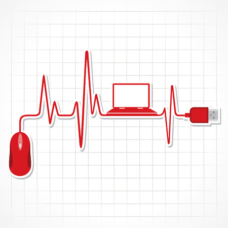 pulsating: heartbeat with mouse and laptop stock vector Illustration